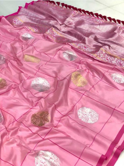 Attractive Look Pink Colour Kanchipuram With Golden And Sliver Pure Zari Saree
