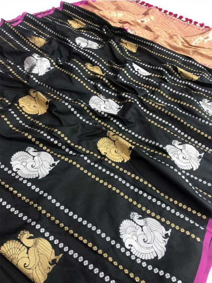 Attractive Look Black Colour Kanchipuram With Golden And Sliver Pure Zari Saree