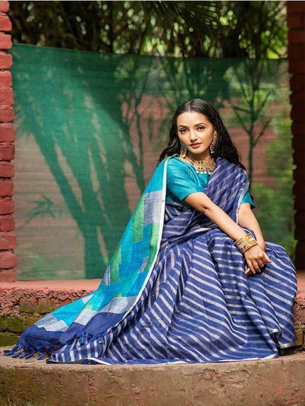 Floral Look Blue Color Linen silk weaving saree with all over silver zari woven