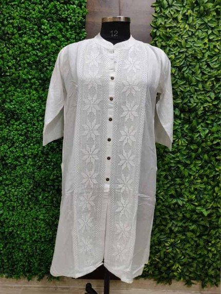 White color Heavy Rayon Kurti With Same Color Lace