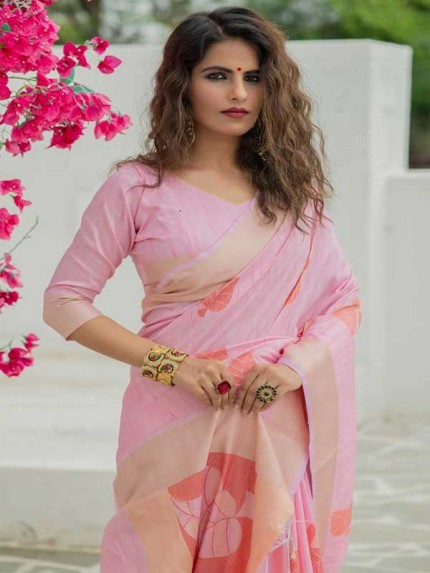 New Eye Catcher Pink Color Soft Mulberry Silk Weaving Saree with Exclusive zari woven