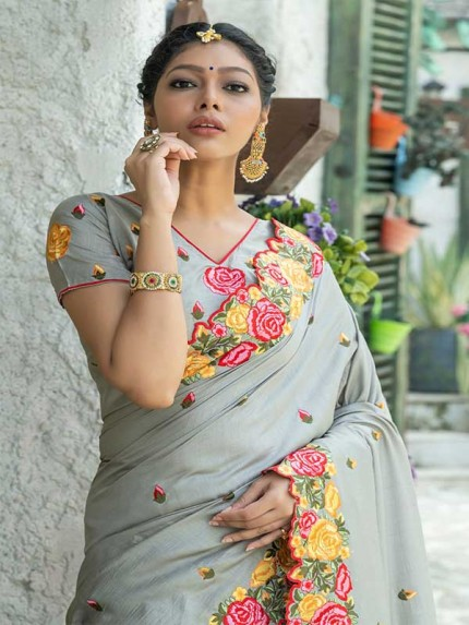 Married Season Grey Colour  Fancy embroidered work sarees