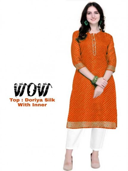 Summer Special Orange color Doriya Silk Kurti
