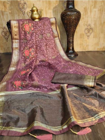 Stunning Onion Color Linen Silk Saree with Beautiful Embroidery and Stone Work