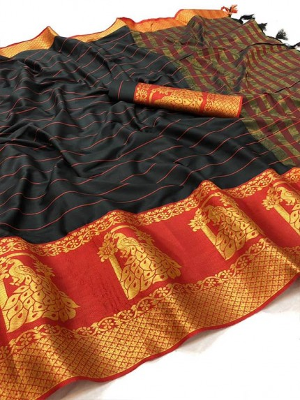 Embossed Look Rich Cotton Silk Saree with Peacock Border