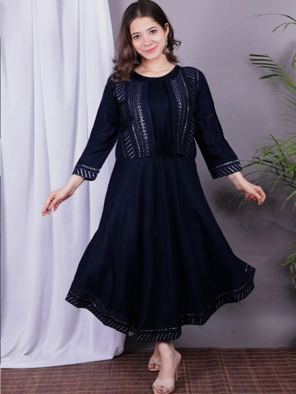 14 kg Rayon Jackets Are Back In New Look With Sequins Work  Kurti