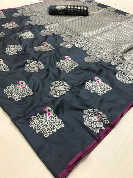 Latest Traditional Look Cyan  Color Soft Silk Weaving Saree
