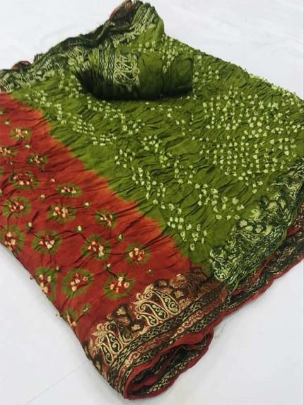Designer Brown Color Pure Bandhani Silk Saree