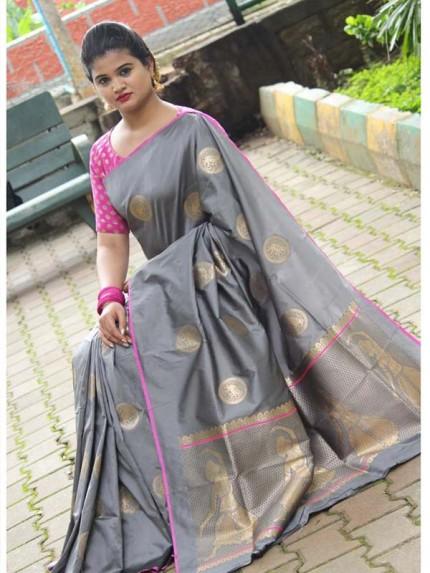 Latest Traditional Look Grey Color Soft Banarasi Silk Rich Pallu With Checks And Peacock Butta And Full Saree Peacock Butta Saree