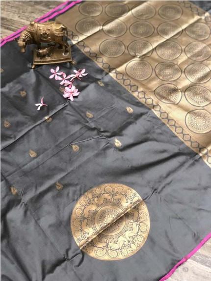 Stunning Look Grey Color Banarsi Silk Fabric Saree
