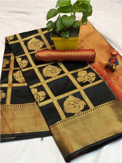 Pretty Look Black Color Banarasi Silk Fabric with Zari work Kanchipuram Saree