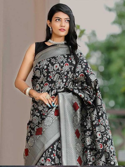 Black Colour Soft Silk Gorgeous Antique Weaving Finish Silver Zari Saree