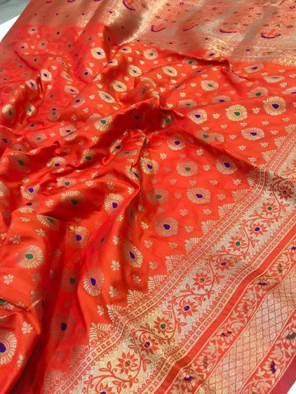 Stunning Look Orange Colour Soft Banarasi Silk Weaving Saree
