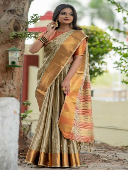 Graceful combination Cream Color Soft Art Silk Weaving Saree With Zari Woven Border