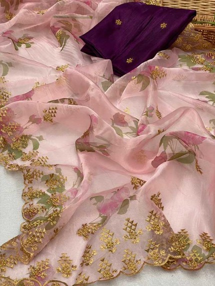 Trending Pink color Soft Pure Organza Embroidery Sarees