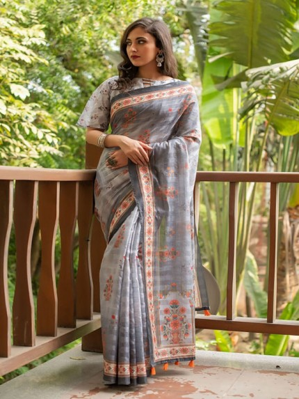 Soft Linen Cotton Saree With Beautiful Digital Print And Zari Lining All Over With Tassels At Pallu