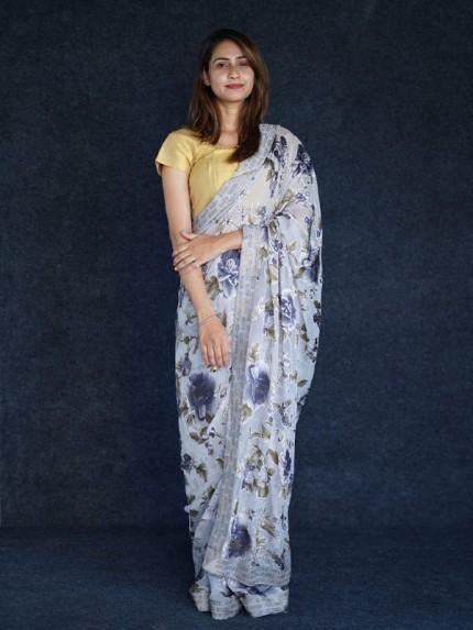 Classic Look Braso fabric Printed Saree with stone work