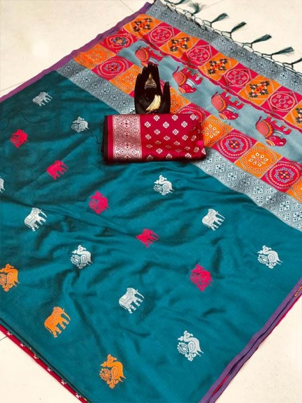 Attractive Look Cyan Color Lichi Silk Saree with Weaving Silver Zari