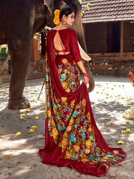 Finnest Look Chiffon Printed Saree with Fancy Lace
