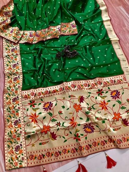 Function wear Green color Pure Kanchipuram Silk Saree