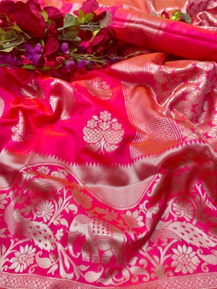 Attractive Look Lichi Silk Saree with Silver weaving Border