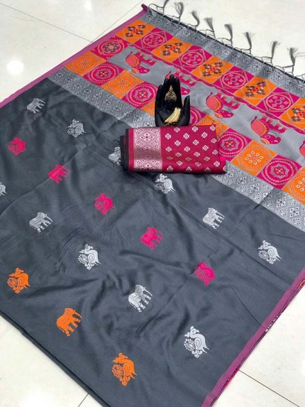 Attractive Look Grey Color Lichi Silk Saree with Weaving Silver Zari