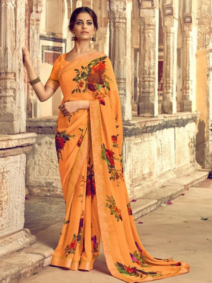 Eye-Catching Look Multi color Georgette Floral Printed Saree