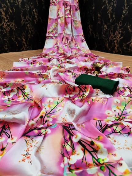Floral Style Japanese Satin Digital Printed Saree