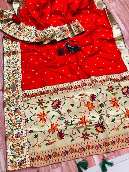 Function wear Red color Pure Kanchipuram Silk Saree