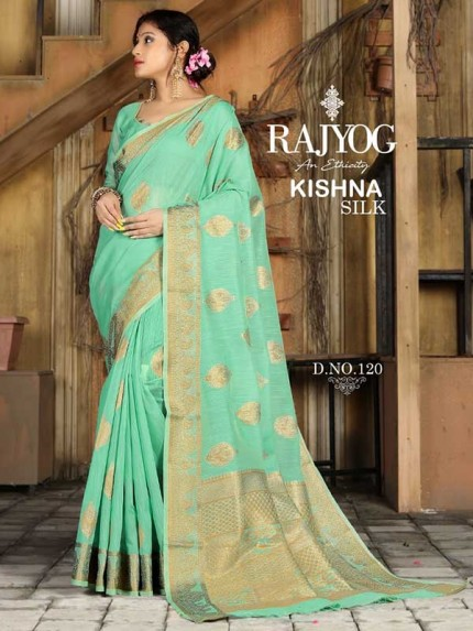New Trending Cyan Colour Soft Weaving Cotton With Jequard Border Saree