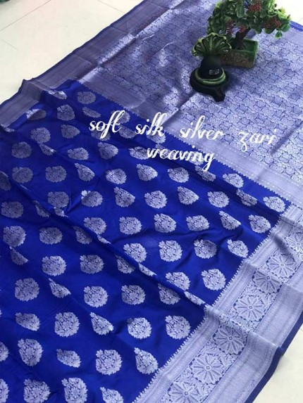 Latest Wedding Look Blue Color Soft Silk Silver zari weaving Saree with Rich Pallu