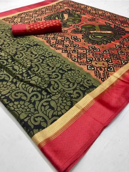 Latest Modern Look MultiColor  Soft Braso On Kota Silk With Kalamkari Rich Pallu