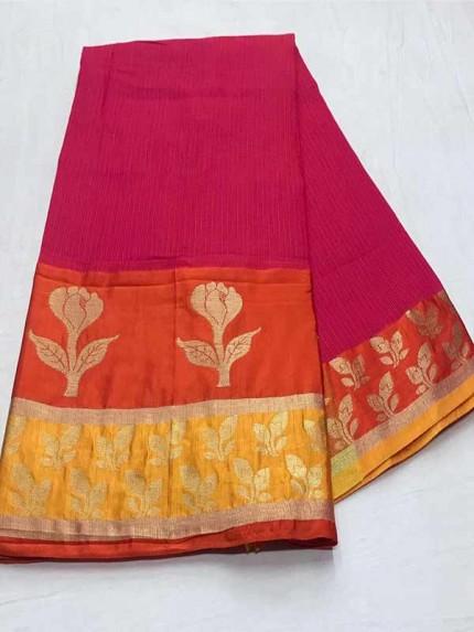 Stunning Pink Color Dola Dodiya Cotton Silk Saree