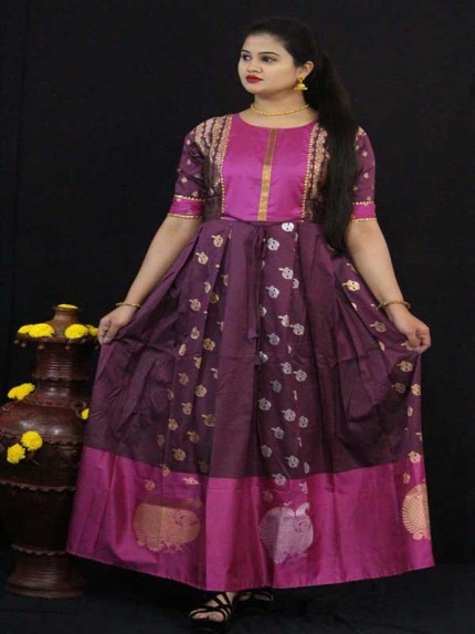 Summer Special Purple color Soft Silk Kanchipuram Style Kurti