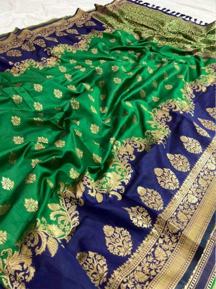 Wedding Look Green color Pure Jacquard Fabrics With Resham Zari Work Saree