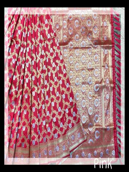 Festival Look Pink color Pure Jacquard Resham zari work Saree