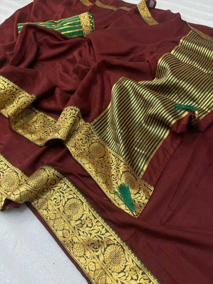 Stylish Look Brown Colour Mogha Silk Saree With a Weaving Border Concept Saree