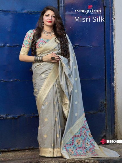 Wedding Season Grey Color Handloom Weaving Silk Saree With Patola Weaving blouse