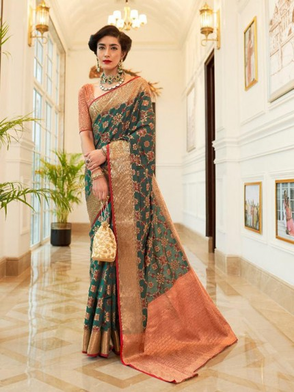 Latest Indian Wedding Look Multi Color Patola Silk Saree