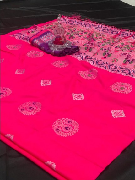 Attractive Look Pink Color Lichi Silk Saree with meena and heavy rich pallu