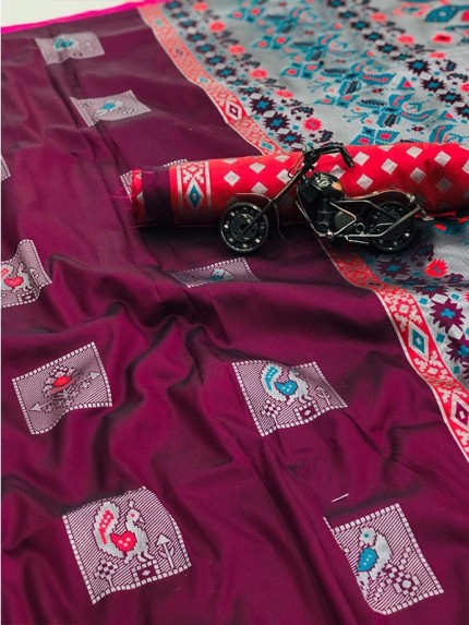 Graceful combination Purple Color Lichi Silk weaving Jacquard Saree