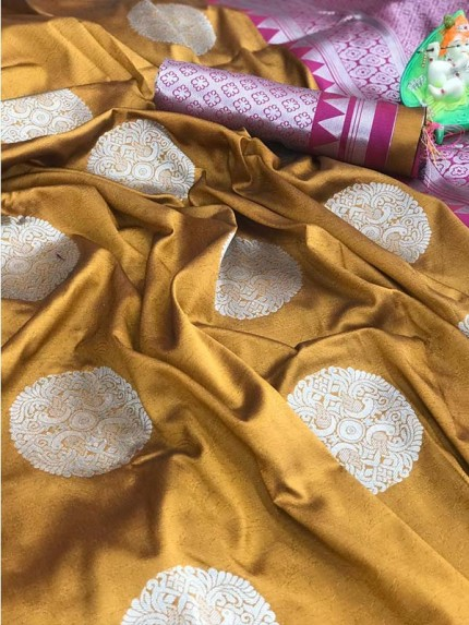 Beautiful Look Gold Color Lichi Silk weaving Jacquard Saree