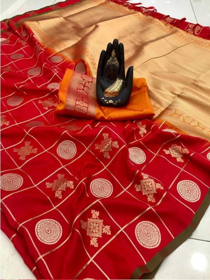 Stylish Look Red Colour Soft Silk with silver & gold zari weaving work saree