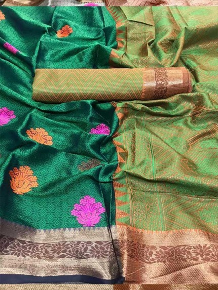 Graceful combination Green Color Emboss Silk Saree