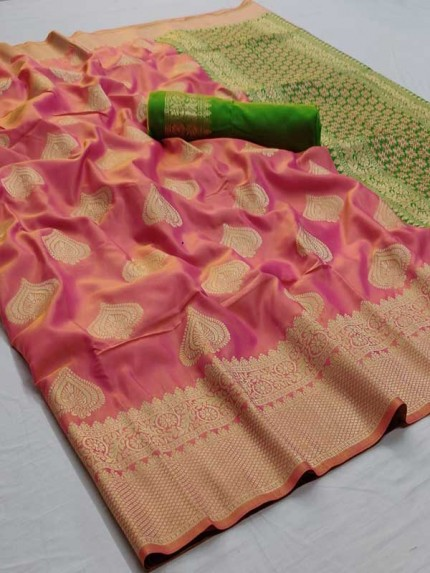 Pink Colored Beautiful Soft Silk Weaving Designer Saree