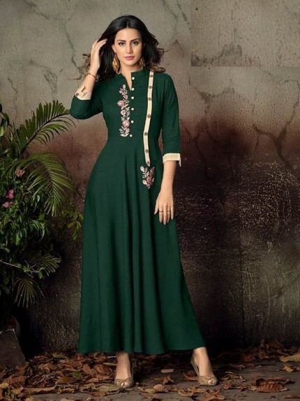 Green Color Heavy Rayon Long Kurti with Embroidery Work