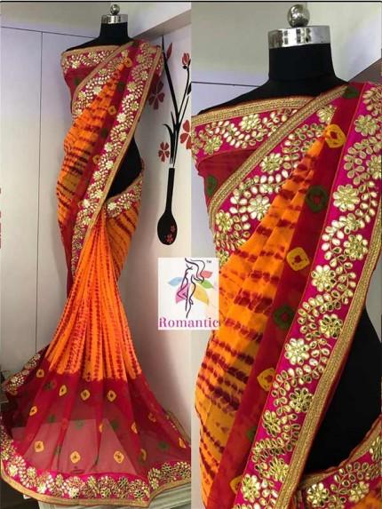 Design Orange Color Georgette Siburi Printed Saree With Beautiful Gota Pati Border   Blouse