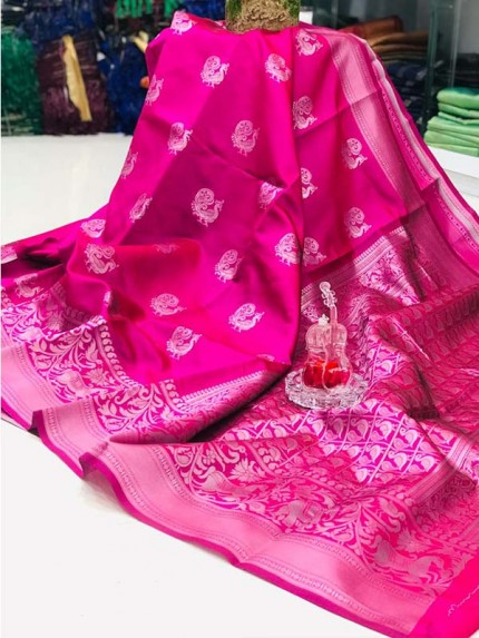 Elegance Look Pink Color Soft banarsari Silk Saree With  weaving work