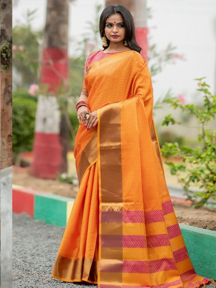 Graceful combination Orange Color Soft Art Silk Weaving Saree With Zari Woven Border