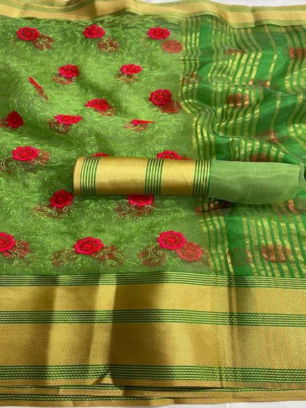 Trending Green Colored Beautiful Organza Heavy Work Saree